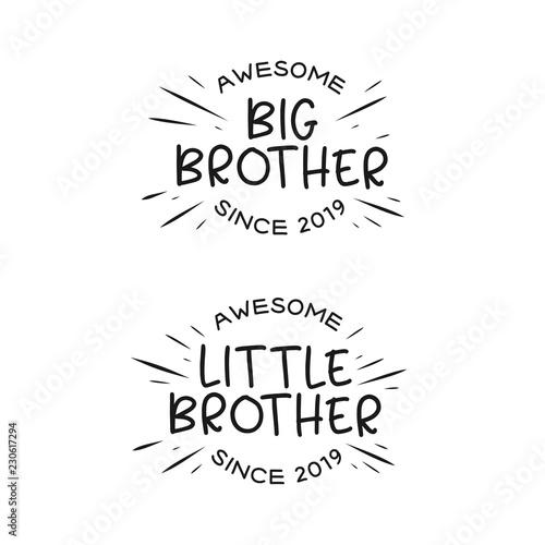 Fototapeta Big brother little brother typography print. Vector vintage illustration. obraz