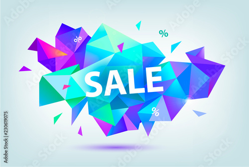 Vector set of sale faceted geometric banners, posters, cards