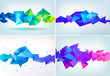 Faceted 3d crystal colorful shape, banner, horizontal orientation. Low poly