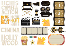 Set Of Cinema And Film Concepts Illustration With Movie Theater Elements. Editable Vector Illustration