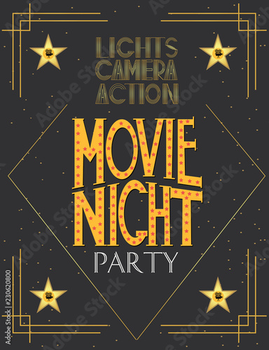 Night Movie Party Invitation Card Birthday Party Invitation