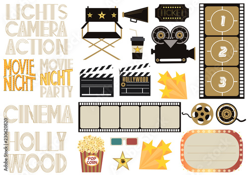 Fotografia Set of cinema and film concepts illustration with movie theater elements