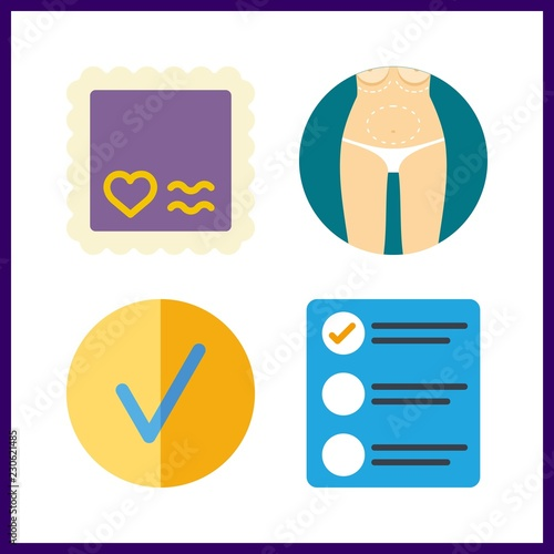4 form icon  Vector illustration form set  checked and stamp icons