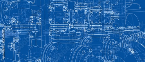 Sketch of industrial equipment. Vector