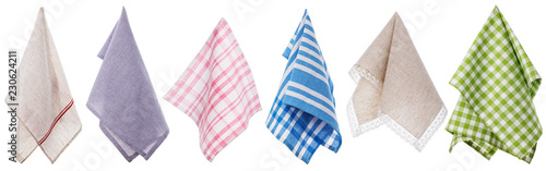 Set of different colored napkins isolated