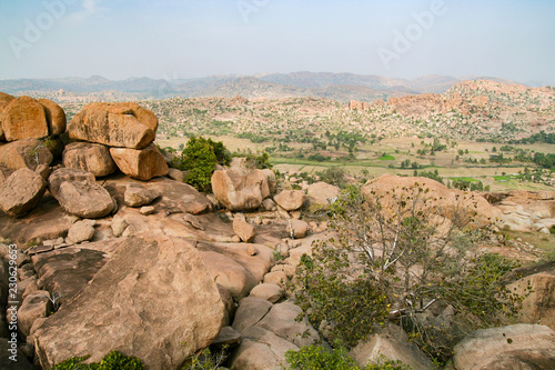 Poster Asia land Big boulders at Hampi India