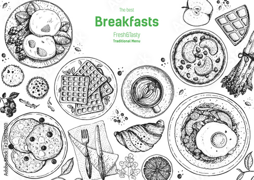 Canvas Print Breakfasts top view frame