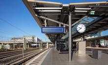 Red Train, Friedrich Strasse Rail Station In Berlin Germany