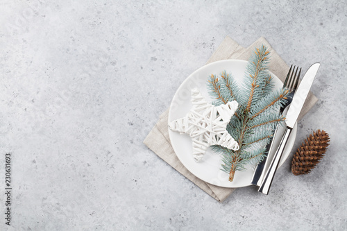 Christmas table setting with plate, silverware