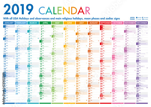 Fototapeta Colorful Calendar with US Holidays obraz na płótnie