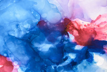 Dark Blue, Red And Violet Splashes Of Alcohol Inks As Abstract Background