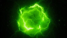 Green Glowing High Energy Lightning, Computer Generated Abstract Background