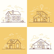 Town Buildings - Set Of Thin Line Design Style Vector Illustrations