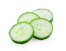 Fresh Slice Cucumber On A White Background.