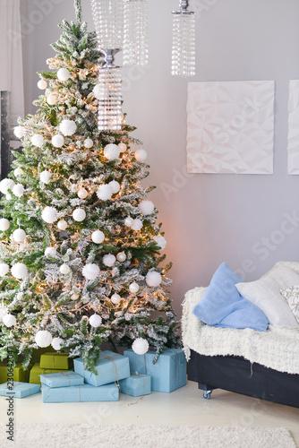 Christmas decor for table setting, or wedding decor, studio with a Christmas tree.