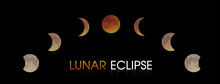 Lunar Eclipse Of The Moon. Illustration Vector EPS10