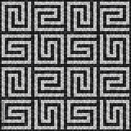 Fotografia black and white mosaic seamless pattern in antique roman style