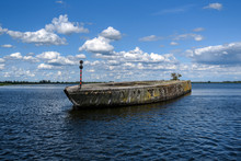 A Concrete Ship Used By The Nazis During The Second World War. Lake Dabie, Szczecin.