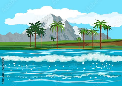Wall Murals Green coral Ocean landscape, tropical islands with palm trees in the horizon, vector illustration