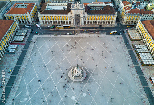 Papiers peints Con. Antique Aerial drone photo of the Comercio Square (Praça do Comércio) of Lisbon, Portugal. The central plaza of the city