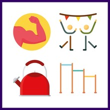 4 Gym Icon. Vector Illustration Gym Set. Dancing And Kettle Icons For Gym Works
