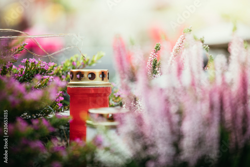 Candle at the cemetery, funeral Wallpaper Mural