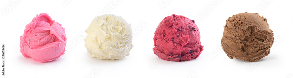 set of colorful ice cream on a white background