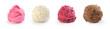 Leinwandbild Motiv set of colorful ice cream on a white background