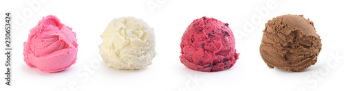 Fotografie, Obraz  set of colorful ice cream on a white background