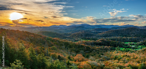 mata magnetyczna Autumn Sunset at Flat Rock on the Blue Ridge Parkway - North Carolina