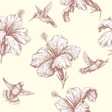 Seamless Pattern With Flying Humming Birds And  Hibiscus