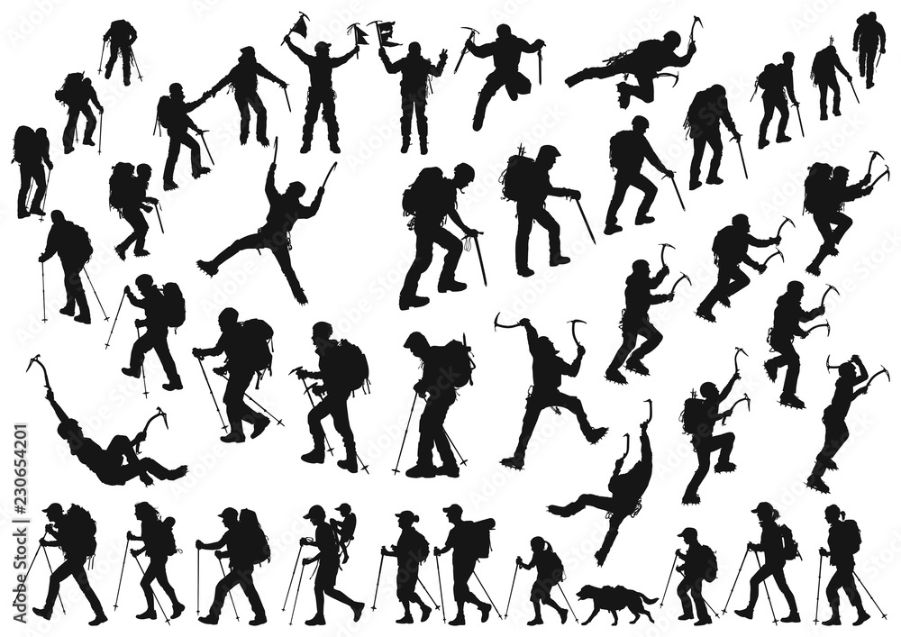 Fototapeta mountaineer climber hiker people, vector silhouette collection
