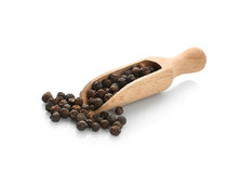 Wooden Scoop With Black Pepper Grains On White Background