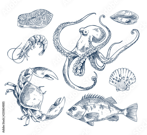 Canvastavla Seafood Sketch Illustration Monochrome Poster