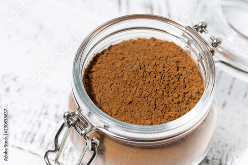 cocoa powder in a glass jar