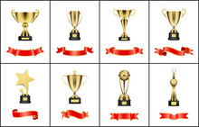 Gold Trophy Cup, Award With Re...