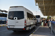 canvas print picture - minibus travel transfer service in airport