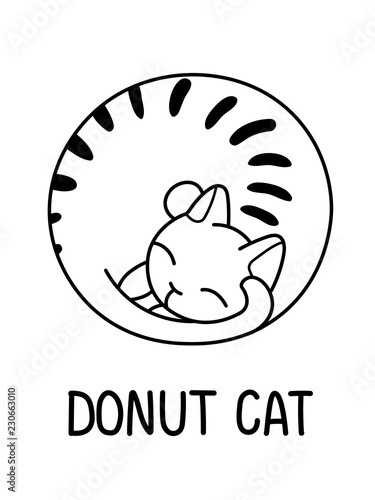 A Vector Cartoon Outline Illustration Of A Cat Curled LikeA Donut; Wallpaper Mural