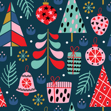 Seamless Pattern With Сhristmas Decorations On Blue Background  - Vector Illustration, Eps