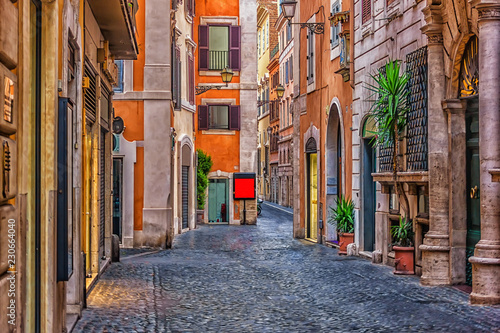 Bright empty Italian street in the downtown of Rome