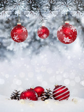 Christmas Banner With Red Baubles With Snowflakes