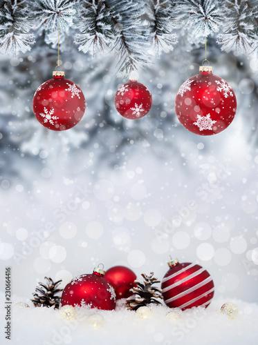 Foto-Leinwand ohne Rahmen - Christmas banner with red baubles with snowflakes (von Rostislav Sedlacek)