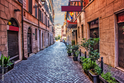 Aluminium Prints Narrow alley Old Italian Street Via di S. Martino Ai Monti in Rome downtown