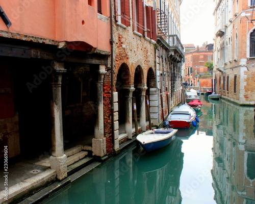 Foto op Plexiglas Venetie The canal in Venice. Ancient buildings, bridges, boats, reflections in the water