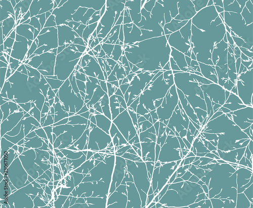 fototapeta na szkło vector Seamless pattern of white winter branches
