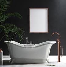 Mock-up Poster Frame In Luxury Minimalist Bathroom, 3d Render