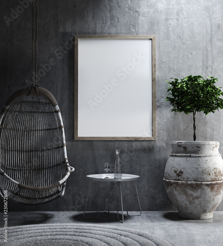 Photo Mock-up in ethnic interior background, 3d render