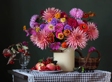 Autumn Still Life With A Bouquet And Fruit.