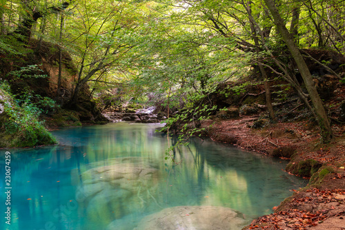 Foto op Aluminium Rivier Source of Urederra river in Baquedano, Navarre, Spain