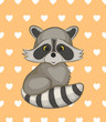 Cute cartoon raccoon. Vector illustration.